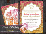 Sweet 16 sixteen Birthday | Bollywood Invitation | Indian Invite | Middle Eastern Invitation | Elephant | Henna Design