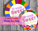 Candy Land Party Favor Tags, Candy thank you gift Candy Party, It was sweet of you PRINTABLE Digital