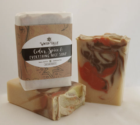 Cedar, Spice and EVERYTHING nice Silk, Shea, Soap Handmade Handcrafted