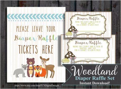 Woodland Forest Animals Diaper Raffle Tickets  | Adventure | Bear | printable, digital, DIY, for your Baby Shower