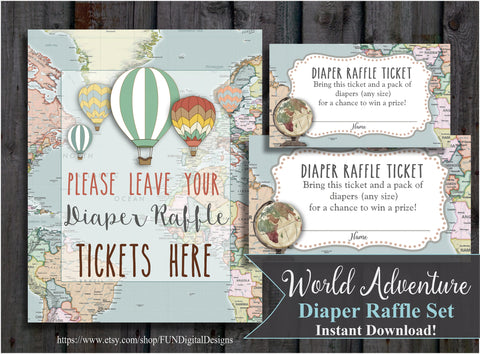 Diaper Raffle Tickets | World Map | Adventure | Hot Air Balloon | Travel | printable, digital, DIY, for your Baby Shower