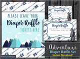 Adventure Awaits Diaper Raffle Tickets | Mountains | Adventure | Bear | Travel | printable, digital, DIY, for your Baby Shower