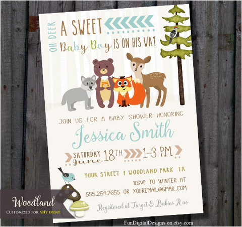 Woodland Baby Shower Invitation | Sweet Forest Animals | Baby Boy Woodland Animals Invite | Baby Deer Invitations