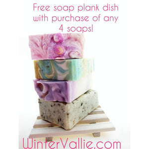 Buy any 4 Handcrafted Soaps and get a FREE soap plank soap dish