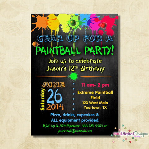 Birthday Paintball Party Invitation, Birthday Party, Boys birthday, paint ball, Invite, printable, digital file