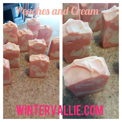 Peaches and Cream Silk, Shea, Soap Handmade Handcrafted Artisan Soap