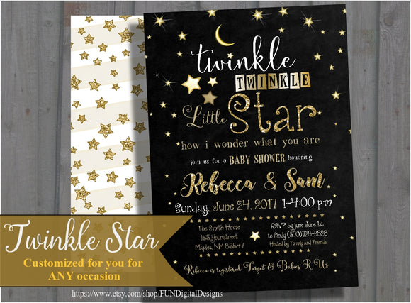 Twinkle Twinkle Little Star Baby Shower Invitation Gender Neutral