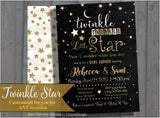 Twinkle Twinkle Little Star Baby Shower Invitation | Gender Neutral | Sprinkle | Black and Gold | Glitter | printable, digital file, PDF