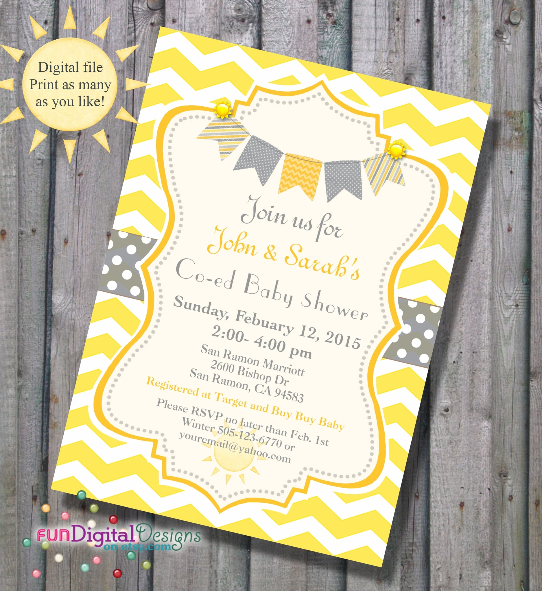 Sunshine baby shower invitation in yellow and grey gray chevron sunshine baby shower invitation in yellow and grey gray chevron stripes diy printable co ed baby shower invitation gender neutral stopboris Gallery