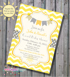 Sunshine Baby Shower Invitation in Yellow and Grey Gray - Chevron Stripes - DIY - Printable Co-ed baby shower invitation, gender neutral