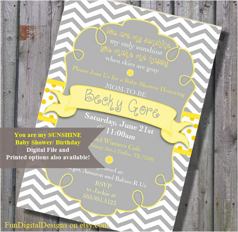 Bright Yellow and Grey Chevron Strip, You Are My Sunshine, Baby Shower Invitation Gray - Chevron Stripes - Printable