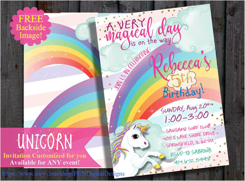 Unicorn Invitation Magical Birthday Party Rainbow Invite Sprinkle Gold Glitter