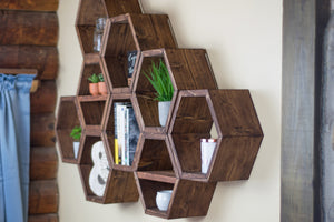 "Hexagon Shelves | Set Of 3 | 5.5"" Deep"