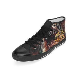 House Shark Illustrated Sneakers Men's Classic High Top Canvas Shoes (Model 017)