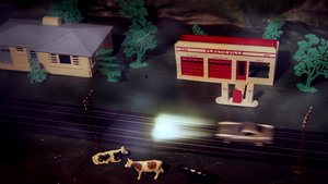 "Plasticville Gas Station Kit Miniature from ""She Kills"""