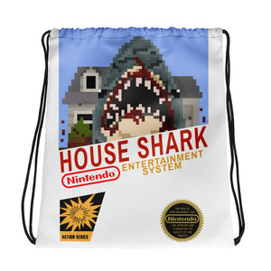 House Shark 8-Bit Drawstring bag