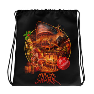 House Shark Christmas Drawstring bag