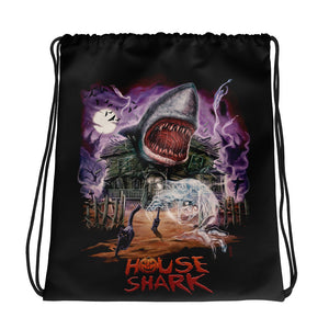 House Shark Halloween Drawstring bag