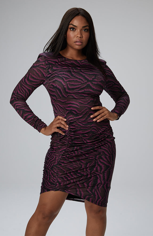 Brooklyn Shirred Dress in Exotic Zebra