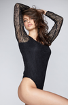 Long Sleeve Lace Bodysuit in Black