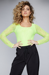 Long Sleeve Lace Bodysuit in Neon