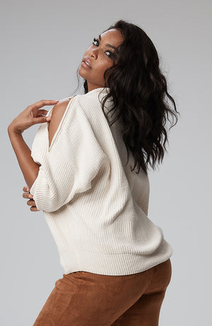Carson Zip Shoulder Sweater in Ivory