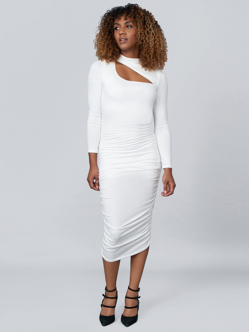 Diana Ruched Bodycon Dress in Ivory