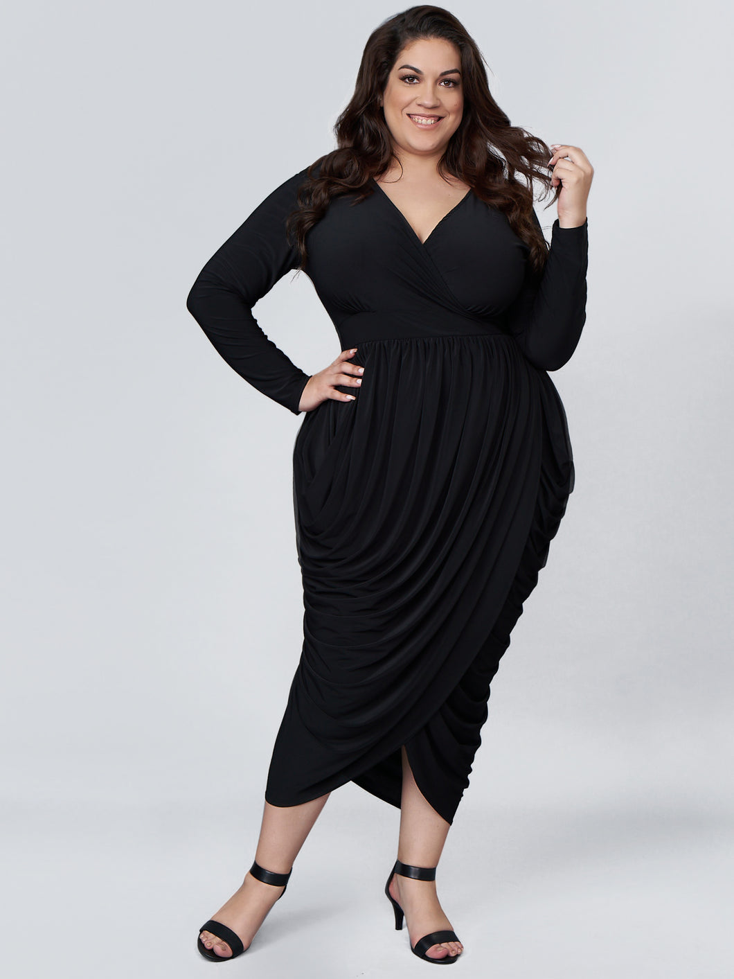 Serena GREAT Ella Long Sleeve Overlap Dress in Black