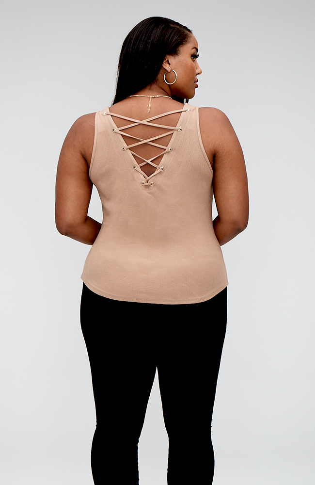 Serena GREAT Not-So-Basic Lace Up Detail Tank