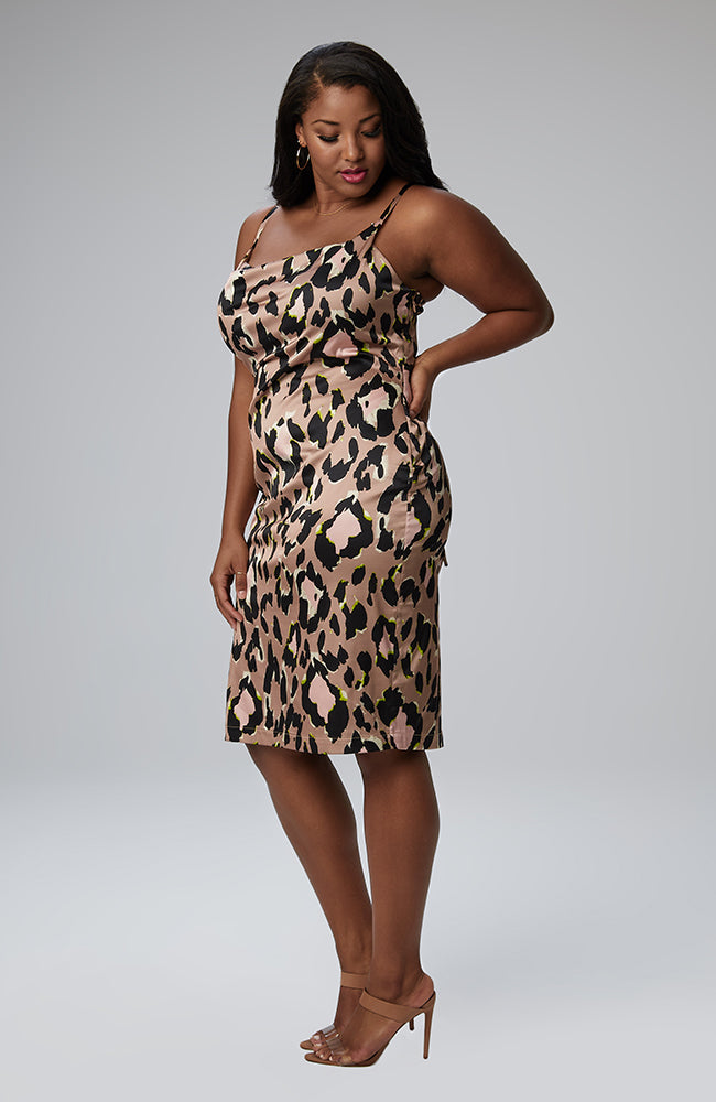 Serena GREAT Sonya Cowl Neck Dress in Leopard