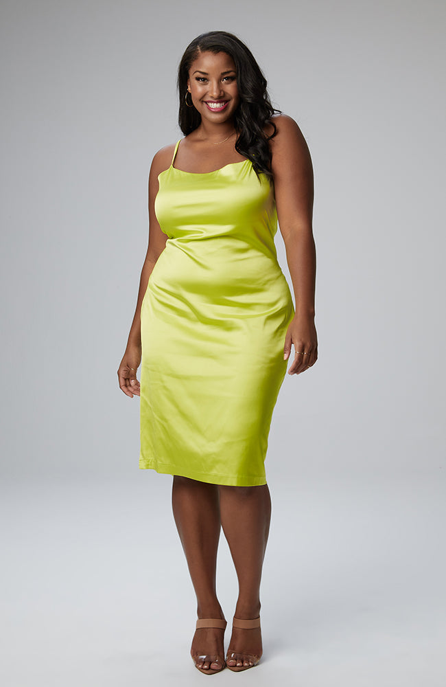 Serena GREAT Sonya Cowl Neck Dress in Neon
