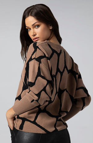 Gabrielle Sweater in Geometric Giraffe