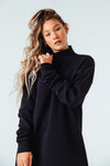 Embrace Me Mock Neck Sweatshirt in Black