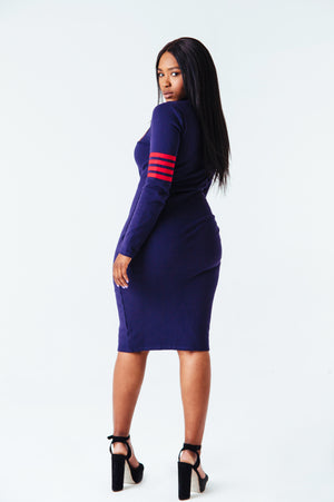 Varsity Zipper Dress in Navy