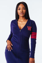 Load image into Gallery viewer, Varsity Zipper Dress in Navy
