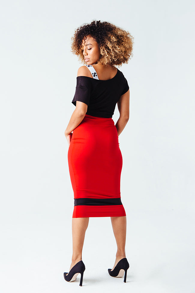 Standout Midi Pencil Skirt in Red