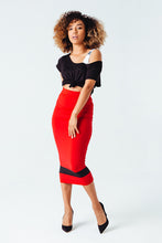 Load image into Gallery viewer, Standout Midi Pencil Skirt in Red