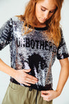 UNBOTHERED Reversible Sequin Tee