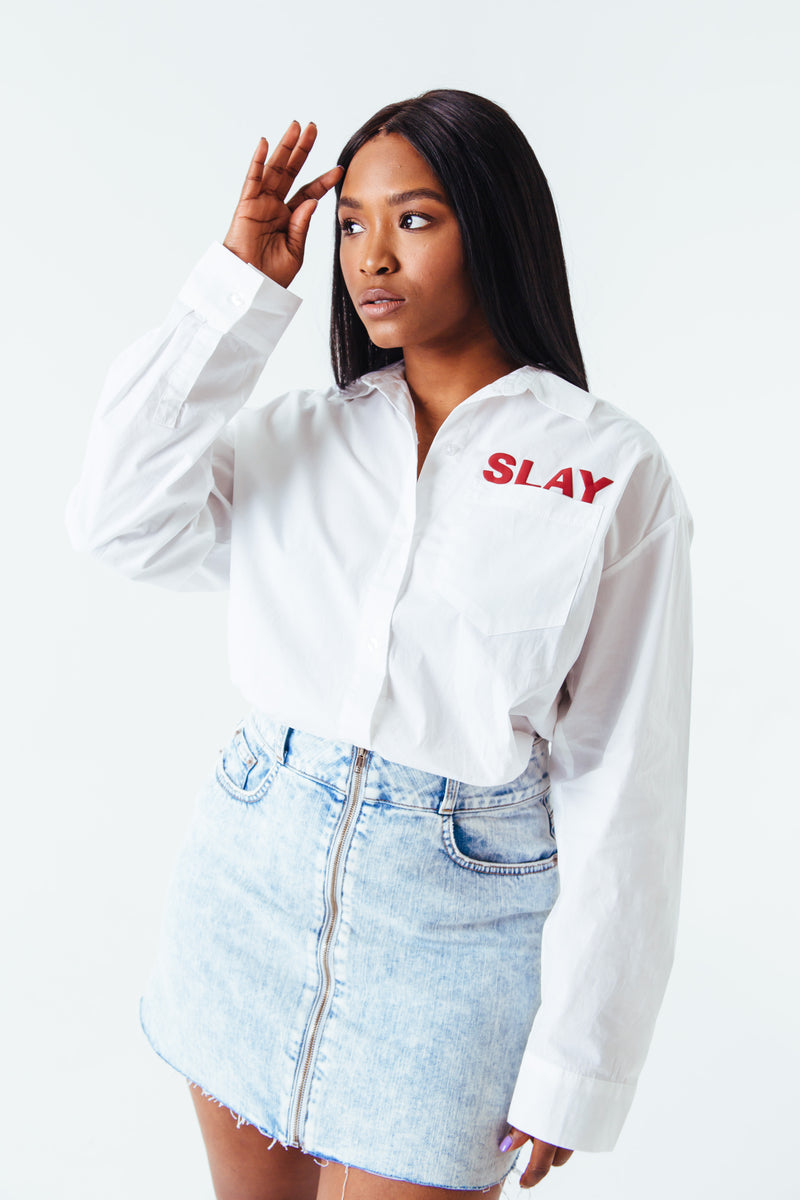 SLAY women's white button down shirt
