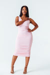 Ruched Goddess Midi Dress in Pink
