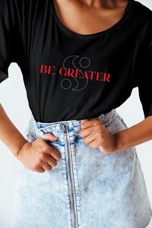 "Limited Edition ""Be Greater"" Logo Tee in Black"