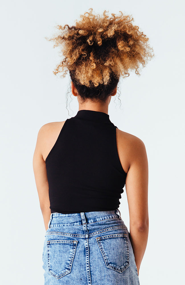 Essential Mock Crop Top in Black