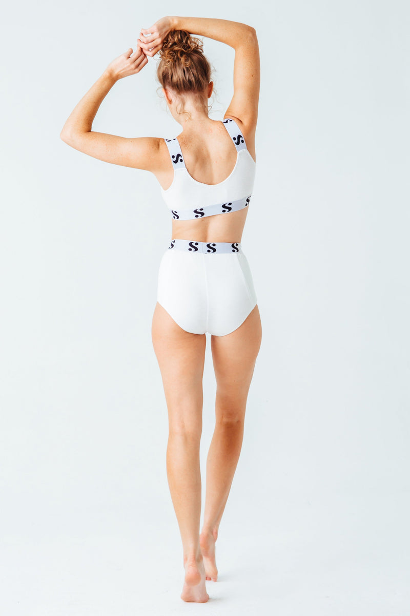 Signature S High-Waist Briefs in White