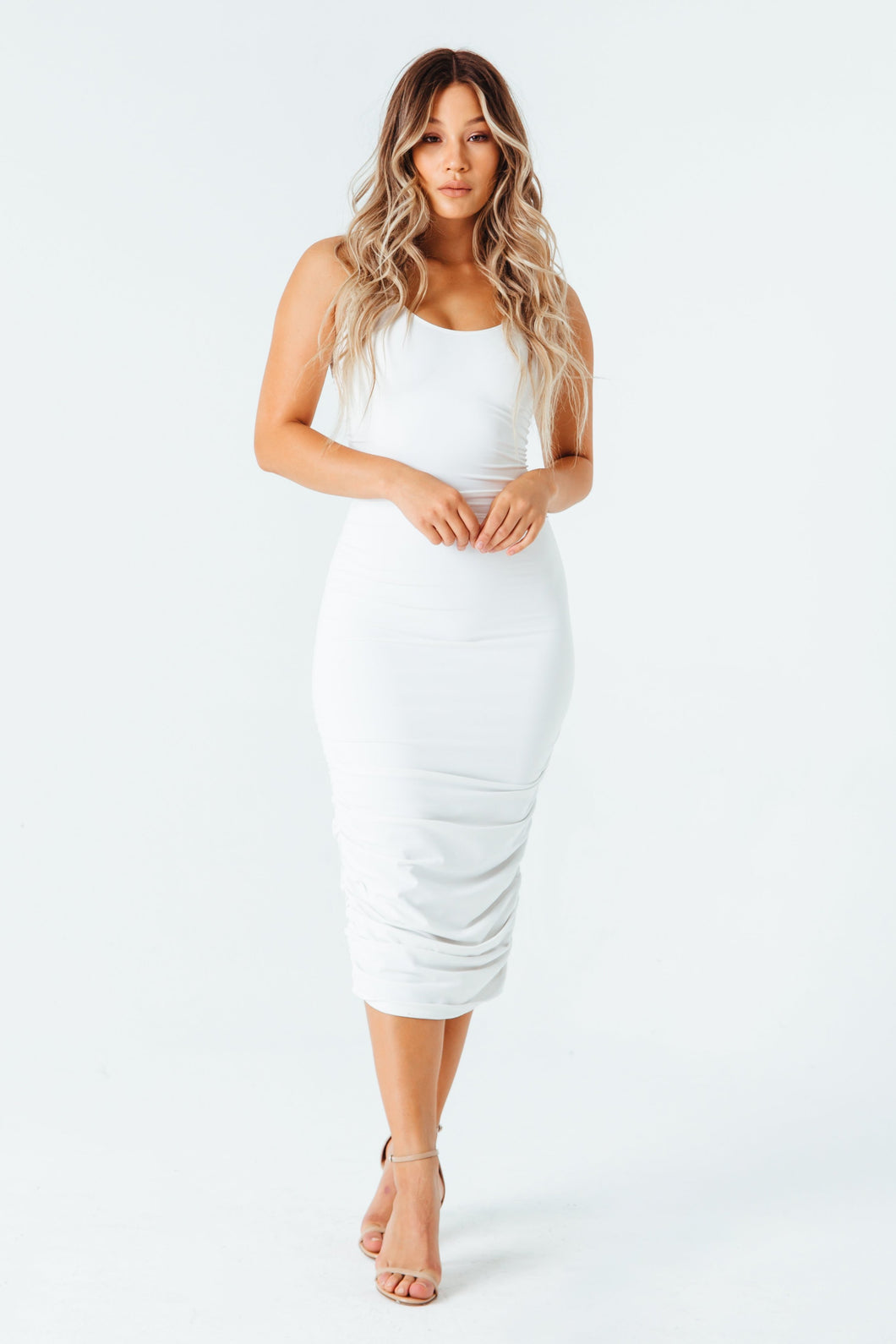 Ruched Goddess Midi Dress in White