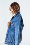 Boyfriend Denim Jacket with Sequin Paneling