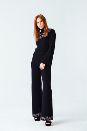 Jolie Embroidered Knit Trouser