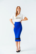 Load image into Gallery viewer, Standout Midi Pencil Skirt in Blue
