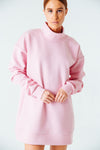 Embrace Me Mock Neck Sweatshirt in Pink