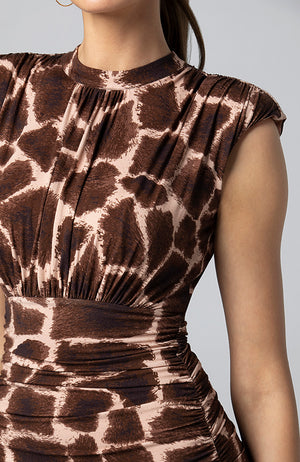 Jamilla Shirred Midi Dress in Natural Giraffe