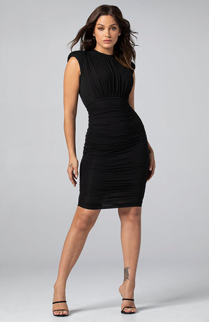 Jamilla Shirred Midi Dress in Black
